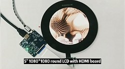 "5"" Round shape LCD Video display with frame , driver board , HDMI in, 5V DC power"